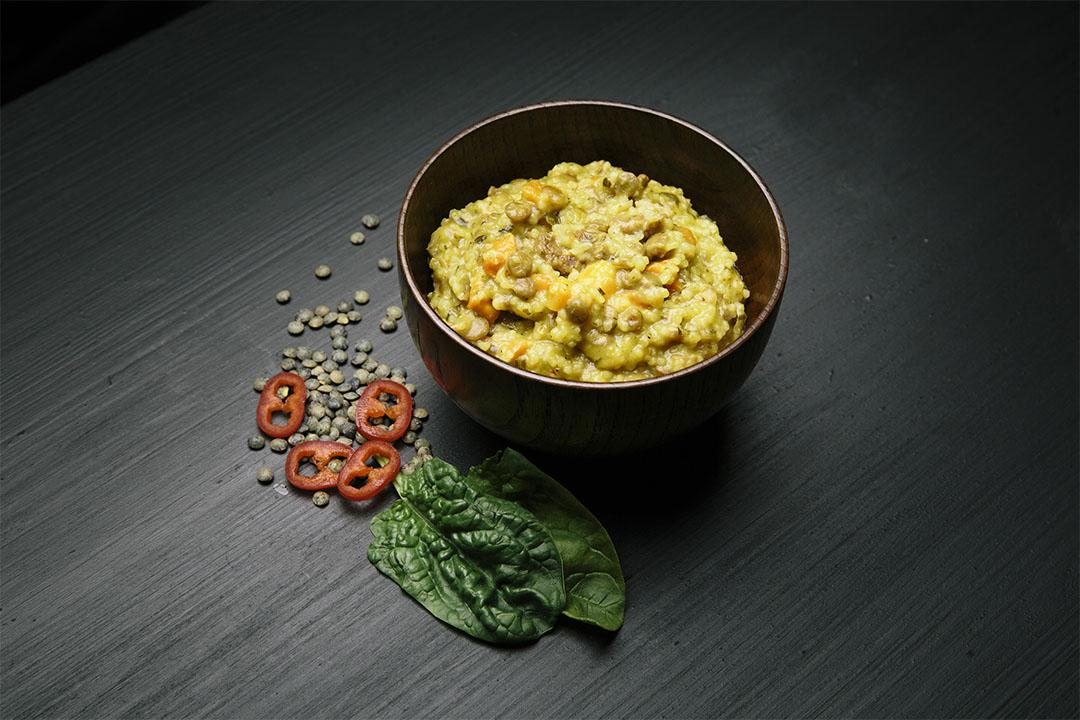 Coscos with lentils and spinach (VEGETARIAN)